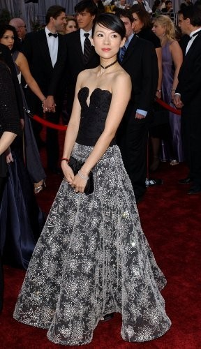 Zhang Ziyi looks picturesque in a black and printed Giorgio Armani gown. The dress featured a strapless beaded bodice and a full printed skirt.