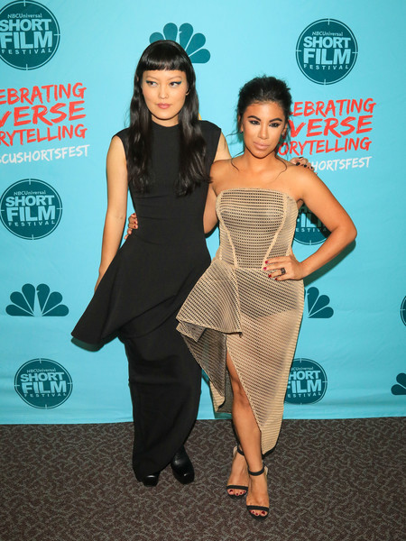 Chrissie Fit looked daring in a sheer, strapless nude dress at the NBCUniversal Short Film Festival.