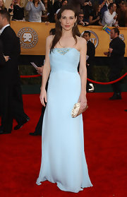 Claire Forlani arrived at the Screen Actors Guild Awards in a baby blue evening dress with bead detailing.