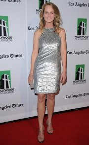 Helen Hunt was a metallic maven in this silver sequined gown.