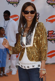 Halle glittered in a gold and silver sequined jacket at the Kids' Choice Awards in LA.