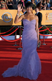 Regina King looked ethereal at the SAG Awards in a ruffled lavender strapless gown.