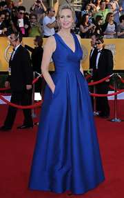 Jane Lynch wore a vibrant textured blue gown for the SAG Awards.