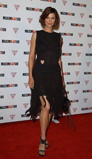 Catherine Bell was edgy-chic in a sheer LBD with a frayed hem.