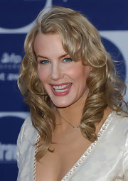 Actress Daryl Hannah was all smiles with her hair styled in long curls.