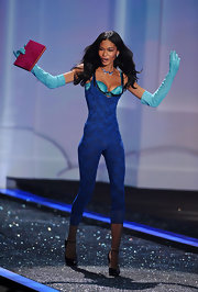 Chanel Iman walked the Victoria's Secret runway in a blue lace bodysuit. Interesting!