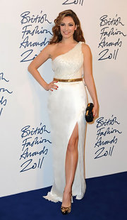Kelly Brook showed off bold footwear at the 2011 British Fashion Awards. She opted for animal-print platform pumps complete with cap-toe detailing.