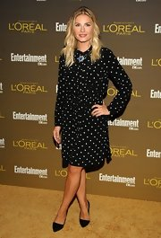 Elisha Cuthbert looked adorable in this black-and-white polka-dot dress at the Entertainment Weekly Pre-Emmy Party.