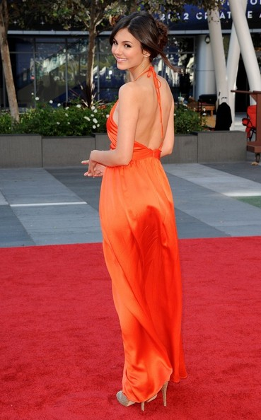 Victoria Justice's Backless Citrus Contrarian Number