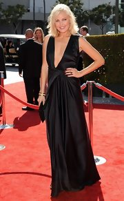 Malin's deep-plunging black satin gown was to-die-for!