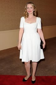 Julie Delpy opted for summery white for the Hollywood Foreign Press Luncheon.