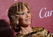 Jane Fonda styled her short hair with feathered waves when she attended the Palm Springs International Film Festival.