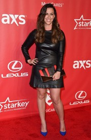 Alanis Morissette made an appearance at the MusiCares Person of the Year Gala looking as edgy as ever in a black leather dress.