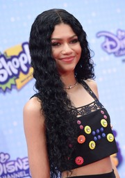 Zendaya Coleman sported hippie-chic center-parted curls at the Radio Disney Music Awards.