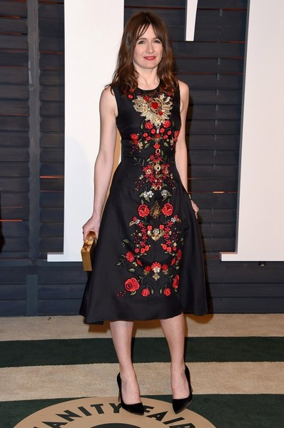 Emily Mortimer went for ultra-feminine charm at the Vanity Fair Oscar party in a Dolce & Gabbana A-line dress with floral embroidery down the front.