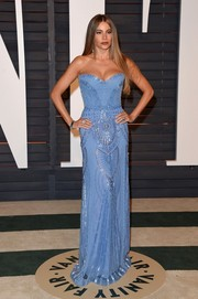 Sofia Vergara looked phenomenal, as always, in a sky-blue Zuhair Murad strapless gown with Art Deco-inspired embellishments during the Vanity Fair Oscar party.