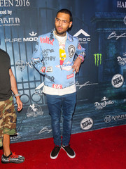 Chris Brown wore a zip-up Thrasher jacket to Maxim's Halloween fiesta.