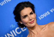 Angie Harmon completed her elegant look with a glossy pink lip.