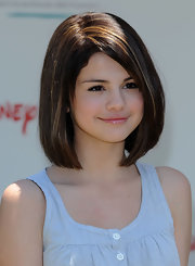 Selena Gomez wore her hair in an adorable bob at the Elizabeth Glaser Pediatric AIDS Foundation carnival.