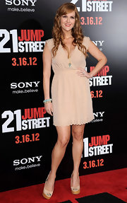 Sara Rue wore this nude dress with perforated edges to the '21 Jump Street' premiere.