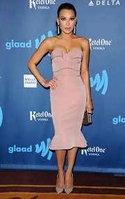 Naya Rivera rocked a blush pink fit and flare, strapless dress at the GLAAD Media Awards.