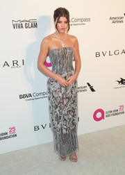 Sofia Richie looked perfectly glam in a beaded strapless column dress by Armani Prive at the Elton John AIDS Foundation Oscar-viewing party.