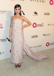 Sofia Carson went for vintage elegance in a Monique Lhuillier strapless brocade column dress with a long train at the Elton John AIDS Foundation Oscar-viewing party.