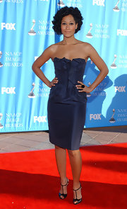 Tracee Ellis Ross rocked a very sexy navy strapless dress at the NAACP Awards.