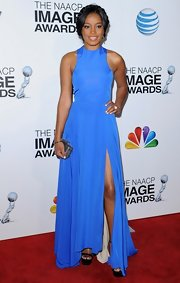 Keke Palmer looked vibrant in this sky blue silk dress with a thigh-high slit at the NAACP Image Awards.
