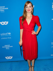 Ahna O'Reilly opted for a simple red V-neck dress when she attended the UNICEF Masquerade Ball.