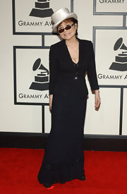 Yoko Ono was the picture of elegance in a floor-length black dress with a lace-paneled bodice at the 50th Annual GRAMMY Awards.