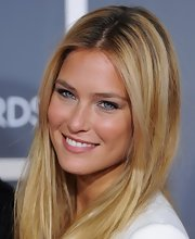 Model Bar Refaeli wears her long locks in a simple center part.  Beautiful!