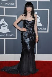 Carly Rae Jepsen looked most literally like a mermaid in this silvery blue mermaid gown at the Grammy Awards.
