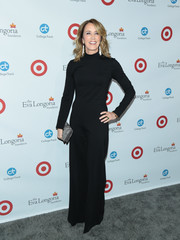 Felicity Huffman donned a black turtleneck jumpsuit for a fall-chic look during the Eva Longoria Foundation dinner.