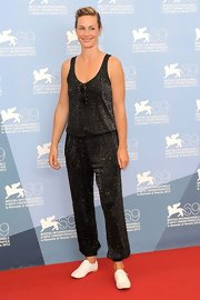 Cecile De France sported this glittery jumpsuit loud and proud!