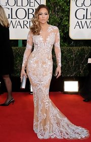 It doesn't get any hotter than Jennifer's nude embroidered gown at the Golden Globe Awards!