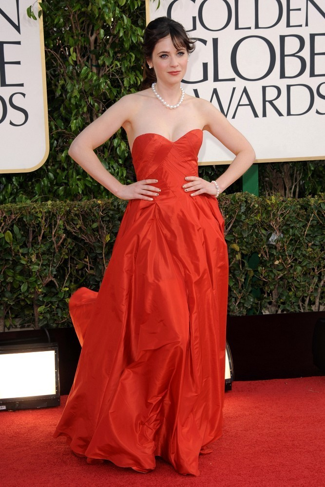 70th Annual Golden Globe Awards..The Beverly Hilton, Beverly Hills, CA..January 13, 2013..Job: 130113A1..(Photo by Axelle Woussen)..Pictured: Zooey Deschanel..