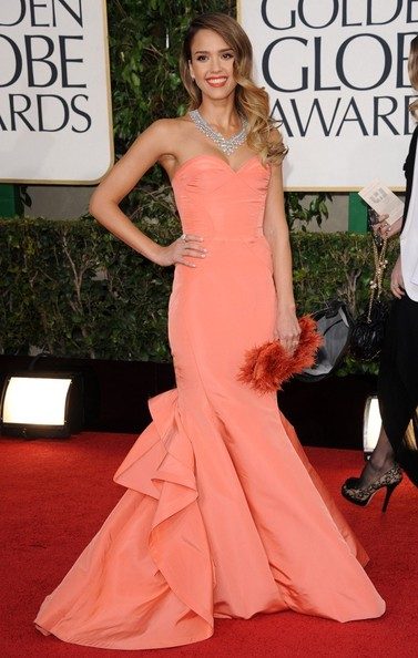 Salmon Oscar de la Renta at the Golden Globe Awards