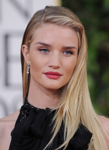 More Pics of Rosie Huntington-Whiteley Long Side Part (8 of 16) - Long Hairstyles Lookbook - StyleBistro