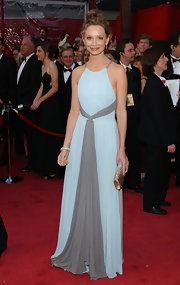 Calista Flockhart looked soft and feminine in this pale blue and gray gown, which she sported at the 2008 Oscars.