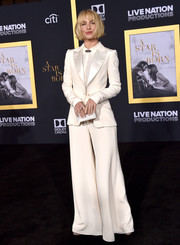 Julianne Hough rocked a white wide-leg tuxedo by Jenny Packham at the premiere of 'A Star is Born.'