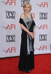 Diane Sawyer shimmered in a glamorous black and silver evening dress at the AFI Life Achievement Awards.