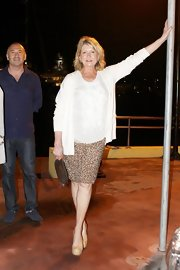 Martha Stewart elongated her legs with a pair of nude platform pumps.