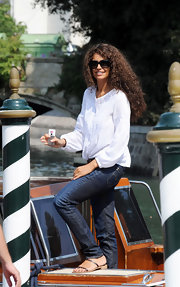 Afef Jnifen was spotted in a stylish white blouse at the Venice Film Festival.