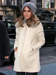 Jessica Alba looked sleek and warm in a cozy gray cable knit beanie while out in NYC.