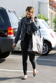 Jessica Alba was out and about town in skinny black pants and gray ballet flats.