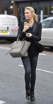 Alex Gerrard looked particularly chic in this black blazer with a contrasting lapel.