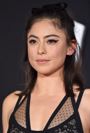 Rosa Salazar wore her hair in a messy half-up style at the premiere of 'Alita: Battle Angel.'