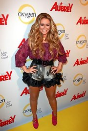 Aubrey O'Day accented her over the top look at the launch of her new reality show with hot pink suede Palais Strappy Platform pumps.