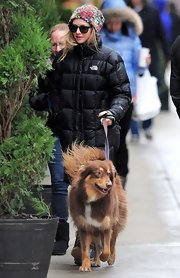Amanda Seyfried wore a multi-colored knit beanie while walking her dog in Manhattan.